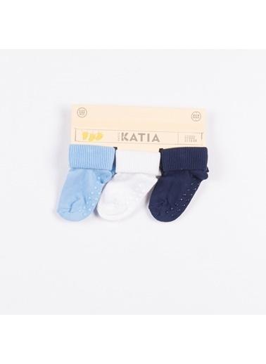 Katia & Bony 3 lü Yenidoğan Basic Patik Çorap - Mavi/Beyaz/Lacivert Mavi